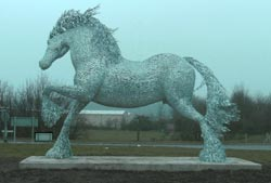 Giant Gypsy Cob horse sculpture by Andy Scott